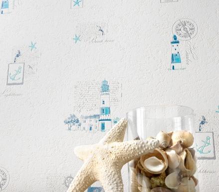 Paper pintat decoració bany , far blau cel