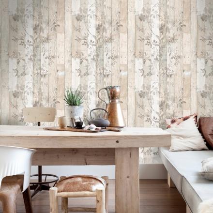 Paper pintat imitació fusta envellida amb flors pintades