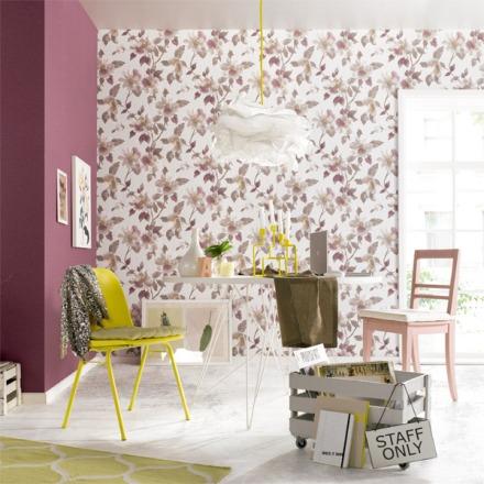 Paper pintat flors grans rosat-morat